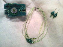 """Jewellery made with hand-made felt """"bead"""", embroidery and beading."""